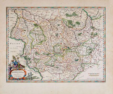 Antike Landkarten, Blaeu, Deutschland, Niedersachsen, Sachsen-Anhalt, 1644-55: Archiepiscopatus Magdeburgensis et Anhaltinus Ducatus