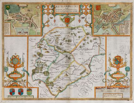 Antique Maps, Speed, British Isles, England, Rutland, Oakham, Stamford: Rutlandshire With Oukham and Stanford her bordering Neighbour Newely described