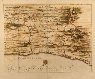 Antike Landkarten, Janssonius, Heiliges Land, Palästina, Israel, 1658: Tribus Simeon et pars meridionalis Tribus Dan, et orientalis Tribus Iuda