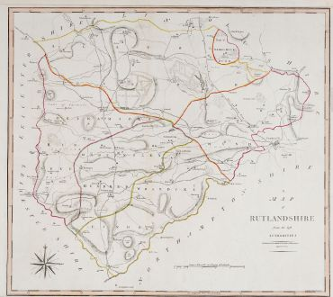 Antike Landkarten, Cary, Britische Inseln, England, Rutland, 1805: A Map of Rutlandshire from the best Authorities