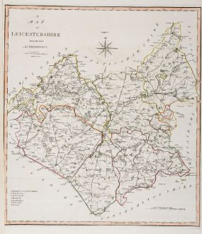 Antique Maps, Cary, British Islands, England, Leicestershire, 1805: A Map of Leicestershire from the best Authorities