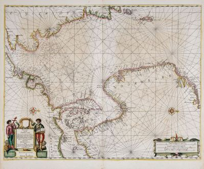 Antike Landkarten, Janssonius, Atlantik, Nordsee, 1650: Pascaart vande Noort-Zee. Tabula Hydrographica Oceani Borealis.