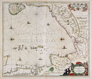 Antique Maps, Janssonius, Indian Ocean, Gulf of Bengal, 1650: Sinus Gangeticus, Vulgo Golfo De Bengala Nova descriptio.
