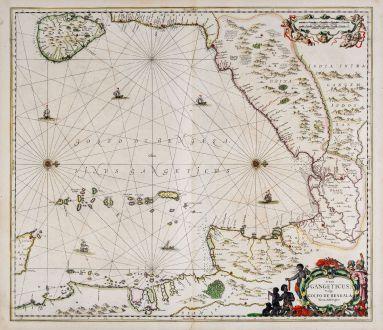Antike Landkarten, Janssonius, Indischer Ozean, Golf von Bengalen, 1650: Sinus Gangeticus, Vulgo Golfo De Bengala Nova descriptio.