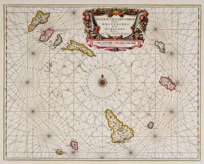 Antike Landkarten, Janssonius, Atlantik, Kap Verde, Cabo Verde, 1650: Insulae de Cabo Verde Olim Hesperides sive Gorgades: Belgice De Zoute Eylanden.