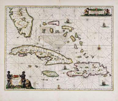 Antique Maps, Janssonius, Atlantic Ocean, Florida and Western Caribbean: Insularum Hispaniolae et Cubae, Cum Insulis circumjacentibus accurata delineatio.