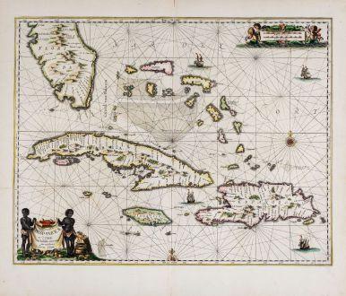 Antike Landkarten, Janssonius, Atlantik, Großen Antillen und Florida, 1650: Insularum Hispaniolae et Cubae, Cum Insulis circumjacentibus accurata delineatio.
