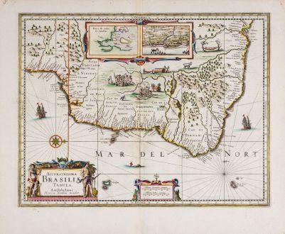 Antike Landkarten, Hondius, Südamerika, Brasilien, 1636: Accuratissima Brasiliae Tabula. Amstelodami Henricus Hondius excudit.