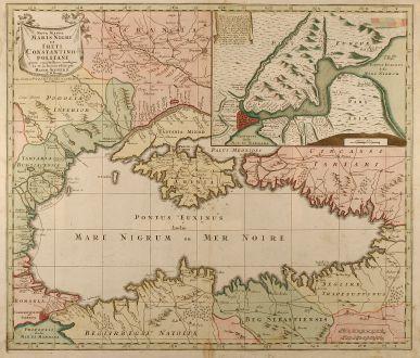 Antike Landkarten, Seutter, Russland, Schwarzes Meer, Konstantinopel, 1741: Nova Mappa Maris Nigri et Freti Constantinopolitani