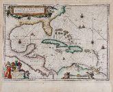 Kolorierte Seekarte der Karibik, Florida. Gedruckt bei Willem & Joan Blaeu im Jahre 1640 in Amsterdam.