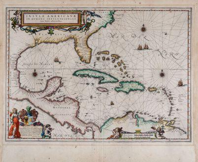 Antique Maps, Blaeu, Central America - Caribbean, Florida, West Indies: Insulae Americanae in Oceano Septentrionali, cum Terris adiacentibus