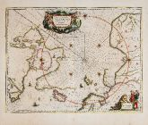 Old coloured sea chart of the North Pole. Printed in Amsterdam by Johannes Janssonius in 1650.