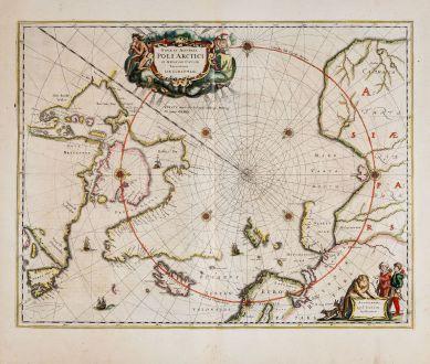 Antike Landkarten, Janssonius, Nordamerika, Nordpol, 1650: Nova et Accurata Poli Arctici et Terrarum Circum Iacentium Descriptio