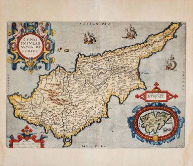 Antique Maps, Ortelius, Cyprus, 1603: Cypri Insulae Nova Descript. 1573