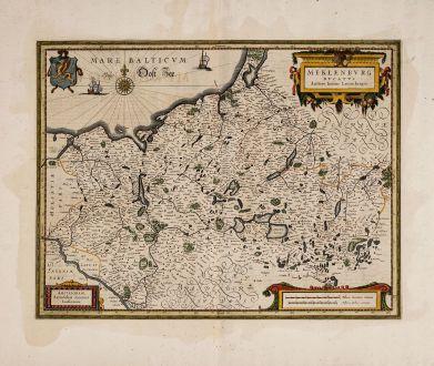Antike Landkarten, Janssonius, Deutschland, Mecklenburg-Vorpommern, 1633: Meklenburg Ducatus. Auctore Ioanne Laurenbergio.