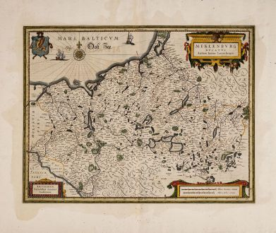 Antique Maps, Janssonius, Germany, Mecklenburg-Vorpommern, 1633: Meklenburg Ducatus. Auctore Ioanne Laurenbergio.