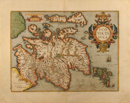 Antike Landkarten, Ortelius, Britische Inseln, Schottland, 1609: Scotiae Tabula