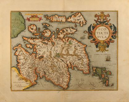 Antique Maps, Ortelius, British Islands, Scotland, 1609: Scotiae Tabula