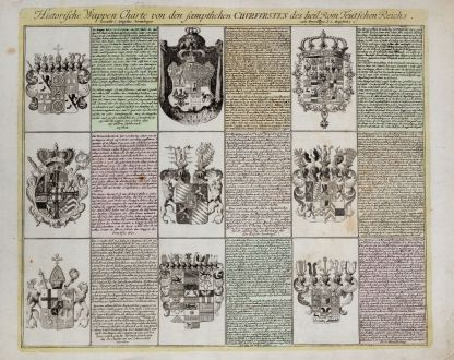 Graphics, Weigel, Coat of arms, 1718: Historische Wappen Charte von den saemptlichen Churfursten des heil. Rom. Teutsch Reichs.