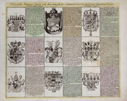 Grafiken, Weigel, Wappen, 1718: Historische Wappen Charte von den saemptlichen Churfursten des heil. Rom. Teutsch Reichs.