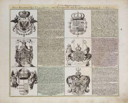 Grafiken, Weigel, Wappen, 1718: Erste Wappen-Charte Derer Europaeischen Kaiserthümer und Koenigreiche...