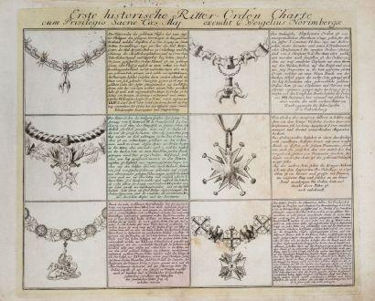 Grafiken, Weigel, Wappen, 1718: Erste historische Ritter-Orden Charte...