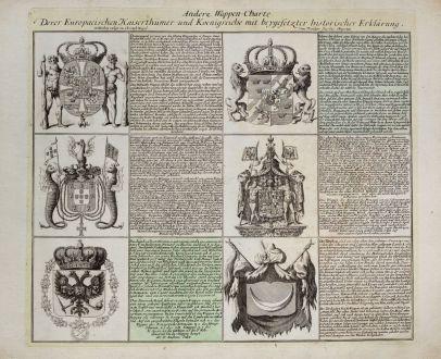 Grafiken, Weigel, Wappen, 1718: Andere Wappen-Charte Derer Europaeischen Kaiserthümer und Koenigreiche...