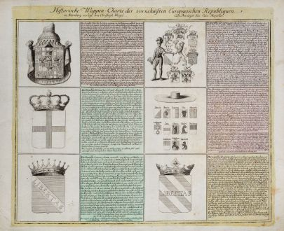 Graphics, Weigel, Coat of arms, 1718: Historische Wappen-Charte der vornehmsten Europaeischen Republiquen