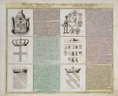 Grafiken, Weigel, Wappen, 1718: Historische Wappen-Charte der vornehmsten Europaeischen Republiquen
