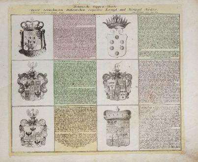 Grafiken, Weigel, Wappen, 1718: Historische Wappen-Charte Derer vornehmsten Italienischen respective Koenigl. und Herzogl. Haeüser.