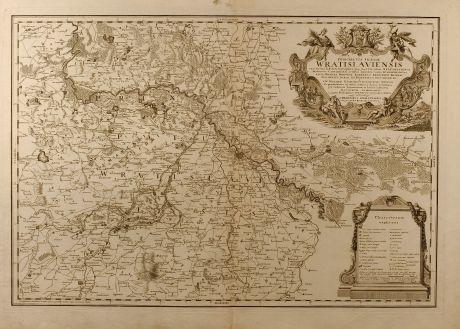 Antike Landkarten, Homann Erben, Polen, Schlesien, Breslau, Wroclaw, 1736: Principatus Silesiae Wratislaviensis