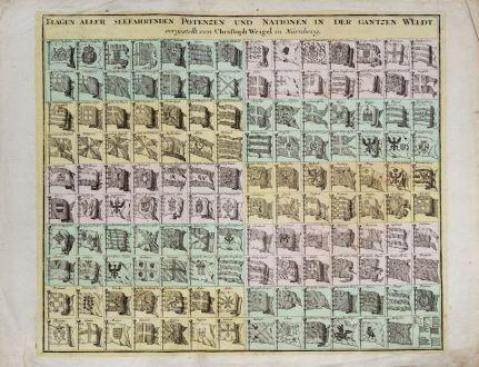 Grafiken, Weigel, Flaggen, 1718: Flagen aller seefahrenden Potenzen und Nationen in der gantzen Weldt. Vorgestellt von Christoph Weigel in Nürnberg.