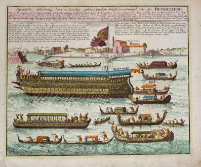 Grafiken, Weigel, Italien, Venedig, Bucintoro, Bucentaur, Galeere, 1718: Eigentliche abbildung, derer in Venedig gebräuchlichen Schiffe, vornehmlich aber des Bucentauro