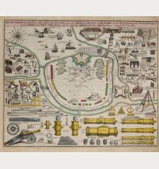 Erste Tafel in welcher alle gehörige Werk-Zeuge zur Kriegs-Kunst, und Artillerie, zu Belagerung der Staette Vestungen...