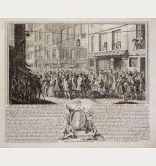 Abbildung des auf der Strasse Quincampoix in Paris entstandenen so berühmten Actien-Handels. Excudit C. Weigel nach den...