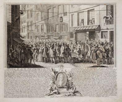 Grafiken, Weigel, Mississippi Blase, Aktienhandel, Börse, 1720: Abbildung des auf der Strasse Quincampoix in Paris entstandenen so berühmten Actien-Handels. Excudit C. Weigel nach den...