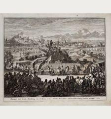 Prospect der Stadt Nürnberg von St. Peter, welche Straße Iosephus I. als Römischer König herein gezogen. 1704