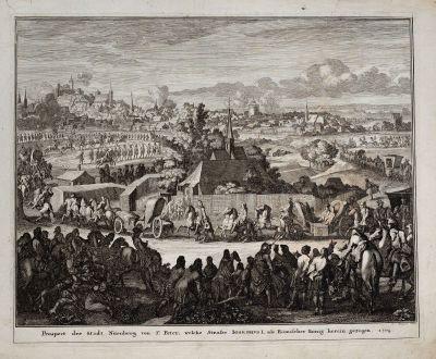 Antike Landkarten, Weigel, Deutschland, Nürnberg, 1718: Prospect der Stadt Nürnberg von St. Peter, welche Straße Iosephus I. als Römischer König herein gezogen. 1704