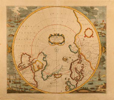 Antike Landkarten, Hondius, Nord - Südpol, 1638: Poli Arctici et Circumiacentium Terrarum descriptio novissima