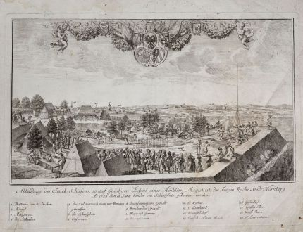 Antique Maps, Weigel, Germany, Nuremberg, 1730: Abbildung des Stuck-Schiesens, so auf Gnädigen Befehl eines Höchlöb Magistrats der Freyen Reichs Stadt Nürnberg: Ao....