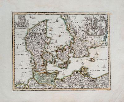 Antike Landkarten, Weigel, Dänemark, 1718: Dania Jutia, Holsatia, Scandia