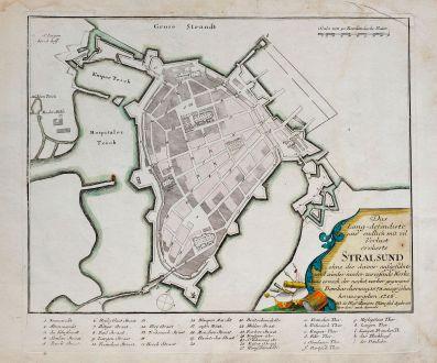 Antique Maps, Weigel, Germany, Mecklenburg-Vorpommern, Stralsund, 1718: Das Lang-defendirte und endlich mit vil Verlust eroberte Stralsund... vorher gegangene Bombardierung 1678 ausgesehen...