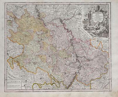 Antike Landkarten, Weigel, Deutschland, Rheinland-Pfalz, 1718: Palatinatus Rheni una cum Episctu. Wormatiensis, Spirensique Ducatu item Bipontino et adjacentibus