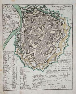Antike Landkarten, Weigel, Deutschland, Bayern, Augsburg, 1718: Urbis Augustae Vindobonae