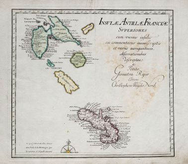 Antique Maps, Weigel, Central America - Caribbean, Lesser Antilles, French West Indies: Insulae Antillae Francicae Superiores & Insulae Antillae Francicae Inferiores