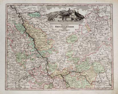 Antike Landkarten, Weigel, Deutschland, Rheinland-Pfalz, Nordrhein-Westfalen: Tractus Rhenanus Inferior