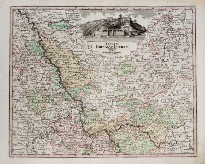 Antique Maps, Weigel, Germany, Rhineland-Palatinate, North Rhine-Westphalia: Tractus Rhenanus Inferior