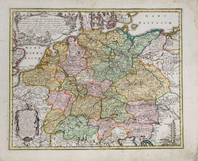 Antike Landkarten, Weigel, Deutschland, Postrouten, 1718: Herma. Welche anweist die Postwege, deren man sich in denen X Kreisen des H: R: Reichs...
