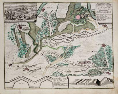 Antique Maps, Weigel, Germany, Baden-Württemberg, Philippsburg, 1734: Eigentlicher Plan des Feldlagers der Kayserlichen und Reichs Armee... belagerten Festung Philippsburg...