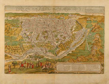 Antike Landkarten, Braun & Hogenberg, Mittlerer Osten, Ägypten, Kairo, Gizeh: Cairus Quae Olim Babylon Aegypti Maxima Urbs